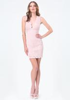 Bebe Scallop Lace Plunge Dress