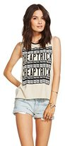 Chaser Womens Cheap Trick All Over Logo Muscle Tee (Small)