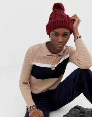 ASOS DESIGN cable knit faux fur pom beanie