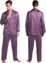 LILYSILK Mens Long Silk Pajamas Set 100% Pure Silk 22 Momme- XXXL