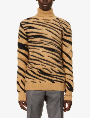 Paco Rabanne Tiger-print mohair-blend jumper