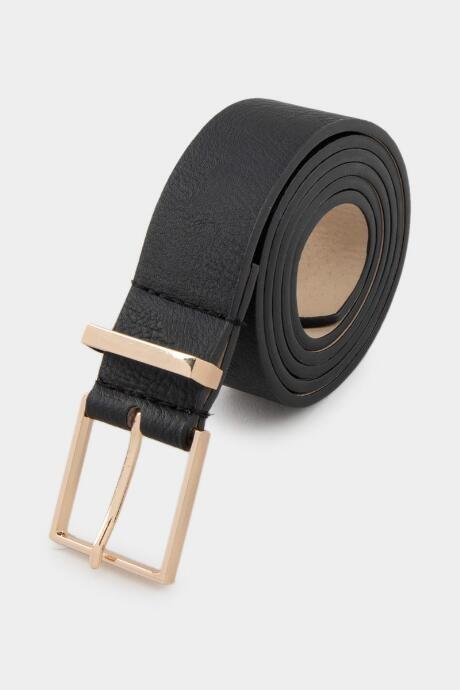 francesca's Joy Square Buckle Belt - Black