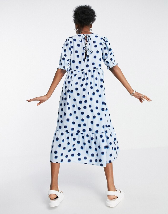 Thumbnail for your product : New Look smock midi dress in blue polka dot