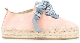 Manebi Bandana-Print Lace-Up Espadrilles