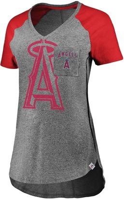 Majestic Women's Gray/Red Los Angeles Angels Static Pocket Raglan V-Neck T-Shirt