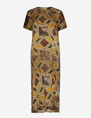 UMA WANG Amber abstract-print stretch-silk midi dress