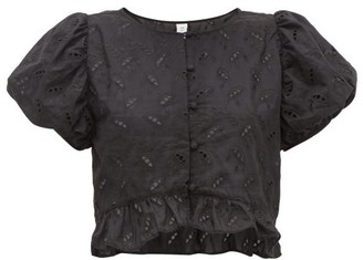 Elodie K Sir Broderie Anglaise Cotton Blend Cropped Top - Womens - Black