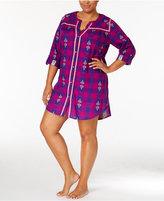 Lucky Brand Plus Size Contrast-Trimmed Flannel Sleepshirt