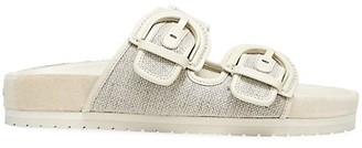 Vince Glyn Leather-Trimmed Canvas Sandals