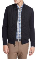 Peter Millar Quilted Wool-Cotton Bomber Jacket, Navy