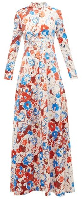 Vika Gazinskaya Floral-print High-neck Maxi Dress - Womens - Multi