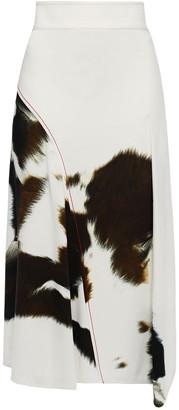 Victoria Beckham Asymmetric Printed Crepe Midi Skirt