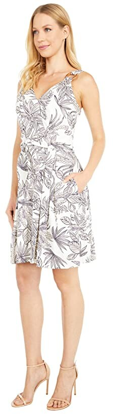 Thumbnail for your product : Vince Camuto Printed Linen Tie Front Fit-and-Flare with O Ring Detail