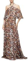 Derek Lam Halter-Neck Floral-Print Silk Chiffon Gown, Natural/Multi Colors