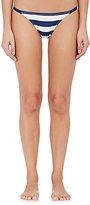 Solid & Striped Women's Morgan Striped Microfiber Triangle Bikini Bottom-NAVY