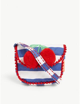 Selfridges Pom pom cherry striped cotton shoulder bag