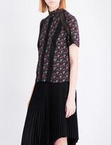 A.L.C. Laurel lace-detail silk-crepe top