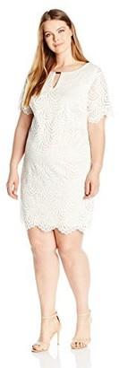 Ronni Nicole Women's Plus Size Elbow Sleeve Keyhole Neck Swirl Lace Shift