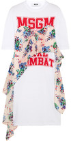 MSGM Printed Crepe-paneled Cotton-jersey Dress - White