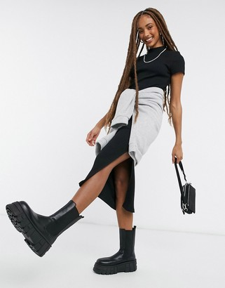Topshop ribbed high-neck midi dress in black