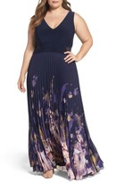 Xscape Evenings Plus Size Women's Floral Border A-Line Chiffon Gown