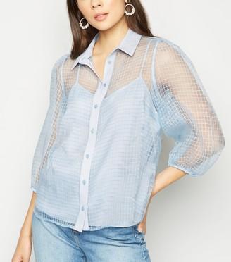 New Look Check Organza Puff Sleeve Shirt