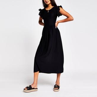 River Island Black short sleeve frill midi dress