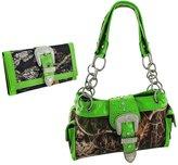 Things2Die4 Camouflage Rhinestone Western Buckle Purse/Wallet Set