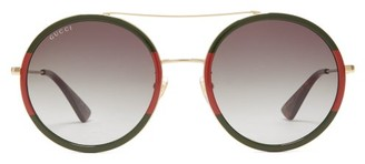 Gucci Web-stripe Round Metal Sunglasses - Womens - Black Multi