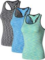 jeansian Women's 3 Packs Quick Dry Compression Tank Top Vest SMF003 PackB L