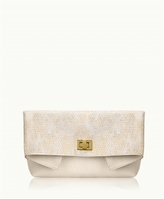 GiGi New York Claire Clutch Metallic Lizard
