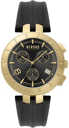 Versus Men's Logo Gent Chronograph Leather Strap Watch, 44mm