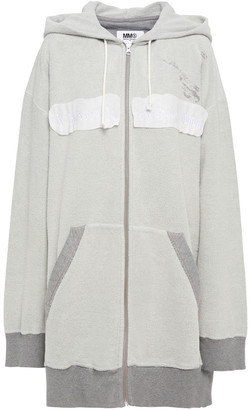 MM6 MAISON MARGIELA Paneled Boucle-knit And French Cotton-terry Hooded Jacket
