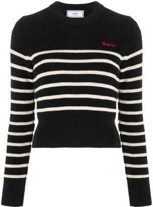AMI Paris Logo-Embroidered Striped Jumper
