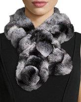Belle Fare Rex Rabbit Fur Pompom Neck Warmer, Gray