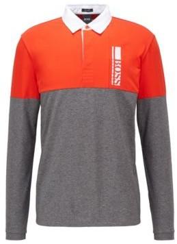 HUGO BOSS Long Sleeved Polo Shirt With Logo Embroidery - Grey