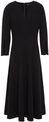 Oscar de la Renta Flared Pintucked Wool-blend Crepe Midi Dress
