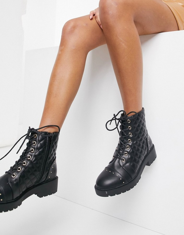 New Look quilted lace up biker boots in black