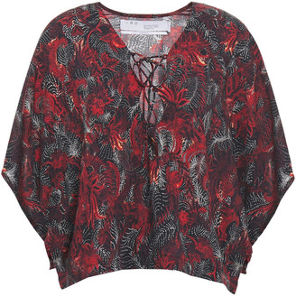 IRO Lace-up Floral-print Woven Blouse