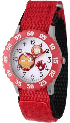Marvel Emoji Kids' Iron Man Stainless Steel Time Teacher Watch, Red Bezel, Red Hook and Loop Nylon Strap with Black Backing