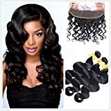 "Moresoo 7a 3 Bundles Body Wave Virgin Brazilian Remy Human Hair Weft with 1 Piece Ear to Ear 13x4 Frontal Lace Closure with Baby Hair Bleach Knots Natural Color 18""20""22""Hair+16"" Closure"