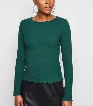 New Look Ribbed Frill Trim Long Sleeve T-Shirt