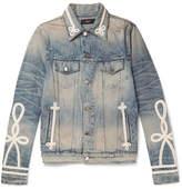 Amiri Slim-Fit Rope-Trimmed Distressed Denim Jacket
