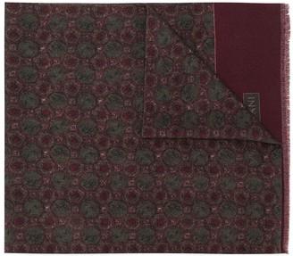 Corneliani frayed printed scarf