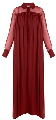 By. Bonnie Young - Long-sleeved Silk-chiffon Gown - Burgundy
