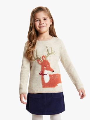John Lewis & Partners Girls' Reindeer Jumper, Gardenia