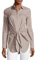 3.1 Phillip Lim Long-Sleeve Striped Tie-Front Top, Ecru/Brown