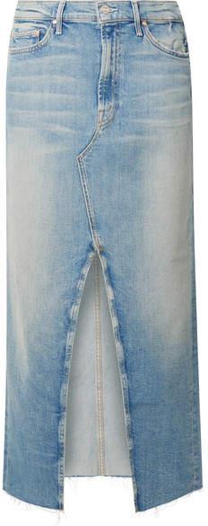 Mother The Altered Sacred Frayed Denim Midi Skirt - Mid denim