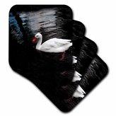 3dRose cst_1015_3 White Duck Ceramic Tile Coasters, Set of 4