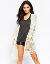 Brave Soul Longline Cardigan With Tassel Detail